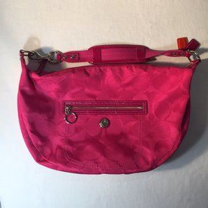 Coach Bright Pink Logo Fabric Bag